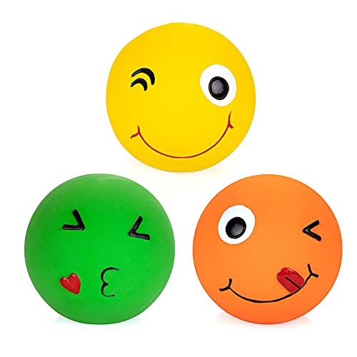 """Chiwava 4 Pack 2.8"""" Latex Squeaky Dog Toy Smiley Face Balls Interactive Fetch Play for Small Medium Dogs"""