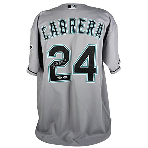 low priced b3bb7 421c0 Marlins Miguel Cabrera Signed Grey Russell Athletic ...