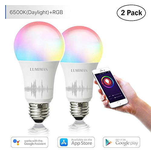 Smart WiFi Light Bulb, LED RGB Color Changing, Compatible with Amazon Alexa and Google Home Assistant, No Hub Required, A19 E26 Multicolor LUMIMAN 2 ()