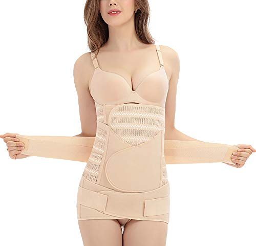 3-Piece Set of Postpartum Curve Recovery, Waist Support/Abdomen/Pelvic Fixation, Beige (L)