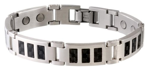 Sabona Men's Carbon Fiber Stainless Magnetic Bracelet Steel -