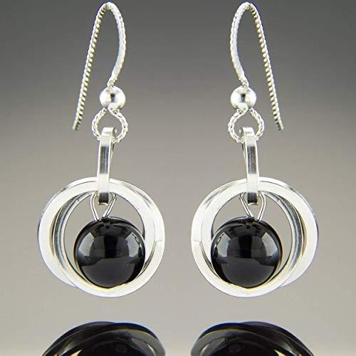 (Dainty Argentium Sterling Silver Black Onyx Gemstone Dangle Earrings)