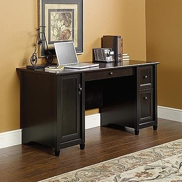 Sauder 408558 Edge Water Computer Desk, L: 59.06 x W: 23.23 x H: 29.02, Estate Black finish