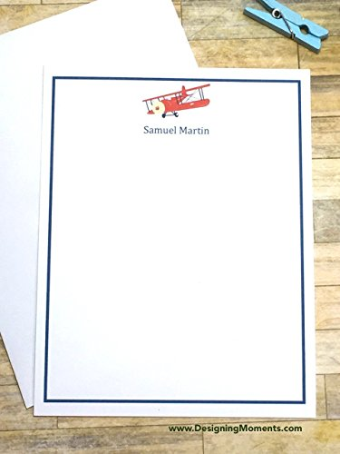 Airplane Stationery (Mens Stationary Airplane Flat Cards - Personalized P51 World War 2 Plane - Blue Airplane Flat Custom Flat Cards - Personalized Stationery)