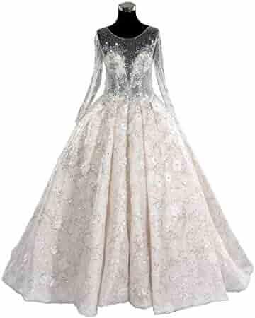 a77e66090 Luweiya Crystal Long Sleeve Ball Gown Princess Wedding Dress Bridal Dress  with Long Train Custom for