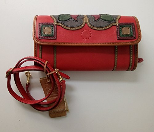 Handmade Soft Leather Women's Purse Handbag Crossbody Shoulder Bag, Special Floral Pattern on Cover, Red, Small by EleganceAccessories