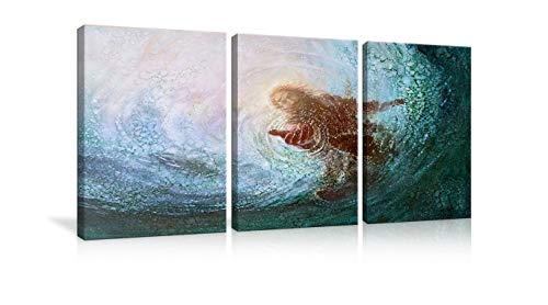 AMEMNY The Hand of God Painting Jesus Reaching Into Water Canvas Prints Wall Art Christ Poster Christian Home Decor for Bedroom Living Room Pictures 3 Panels Painting Framed Ready to Hang -