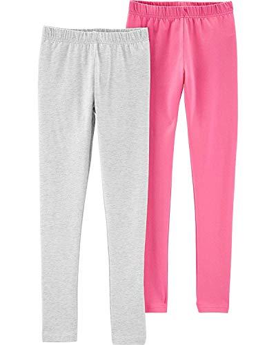 Carter's Girls' Baby, Toddler, Kids, 2 Pack Cotton Leggings/Shorts, Pink/Grey, 4-5 Kids