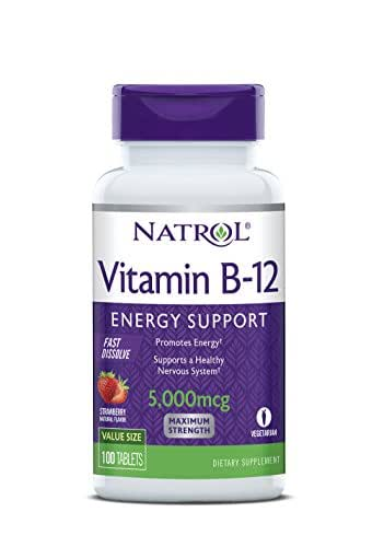 Natrol Vitamin B12 Fast Dissolve Tablets, Strawberry flavor, 5,000mcg, 100 Count