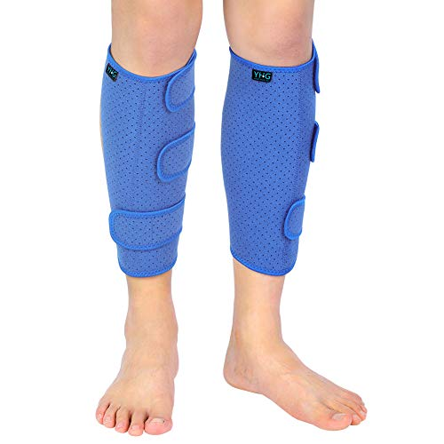 Shin Splint, 2 Pack Adjustable Calf Compression Brace Shin Support Wrap Lower Leg Sleeve for Men & Women Calf Injury Prevention Recovery and Hiking, Running, Football Sports