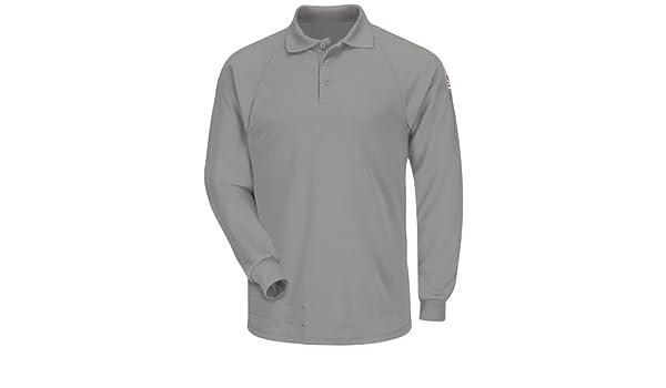 34178ef459bd Amazon.com  Men s Bulwark FR Classic Long Sleeve Polo - CoolTouch®2 6.5 oz  Grey  Clothing