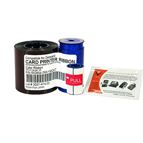 (Printer Parts Printer Ribbon 552854-504 Color Ribbon 500prints/roll with Cleaning Wheel, Cleaning Card for Datacard SP35 SP55 SP75 - (Color: Other))