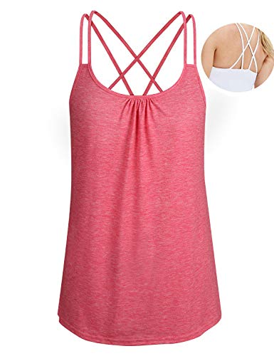 (ZKHOECR Cami Tank Tops for Women Junior Yoga Tunic Camisole Sleeveless Round Neck Loose Fit Strappy Racerback Workout Sport T Shirt Summer Cotton Activewear Red XL)