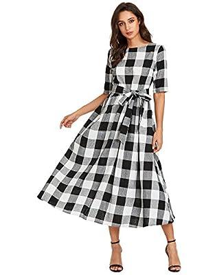 Verdusa Women's Flared Tie Waist Belted Checkered Tunic Maxi Long Dress