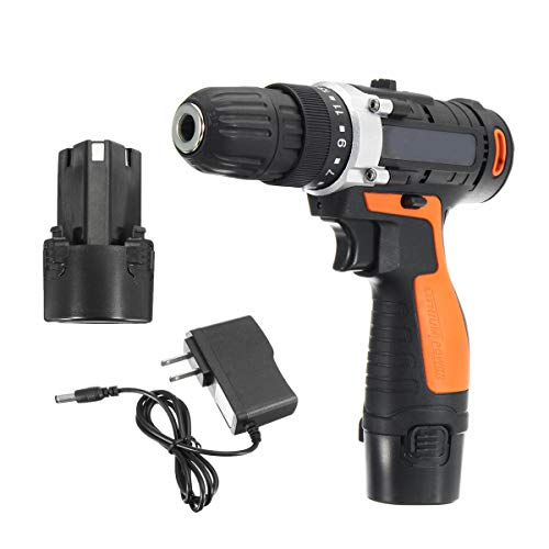 12V 3900mA Rechargeable Lithium-Ion Battery Electric Hammer Electric Screwdriver Power Drill - Power Tools Electric Screwdriver - (2) - 1x 30W 12V Solar Panel Kit for $<!--$130.69-->
