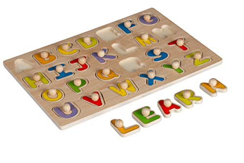(Toysters Wooden Alphabet Peg Puzzle for Toddlers | 26-Piece ABC Letters Wood Puzzle Game | Preschool Educational Toy Helps Improve Fine Motor Skills | Suitable for Boys and Girls Ages 2, 3 and )