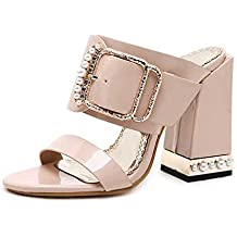 Women Slippers Sexy Crystal Buckle Square Heel Women Slippers Sandals Size 34-40 Apricot Black