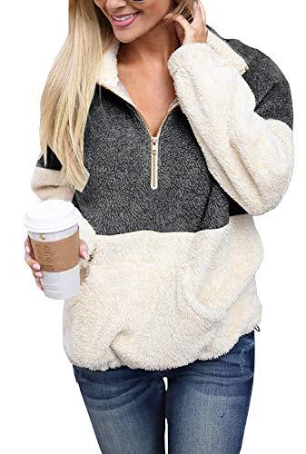 Jacket Coat Pullover - Yskkt Plus Size Sherpa Pullover Womens Sweatshirt Half Zip Fuzzy Fleece Jacket Winter Coat Outwear with Pockets