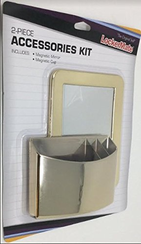 LockerMate 2-Piece Accessories Kit, Magnetic Mirror & Magnetic Cup, Gold
