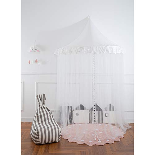(Bed Canopy Baby Crib Canopy for Mosquito Half-Moon Kids Bed Canopy | Princess Girls Boys Reading Play Canopy with Lace | Corner Decor Grey or Pink )