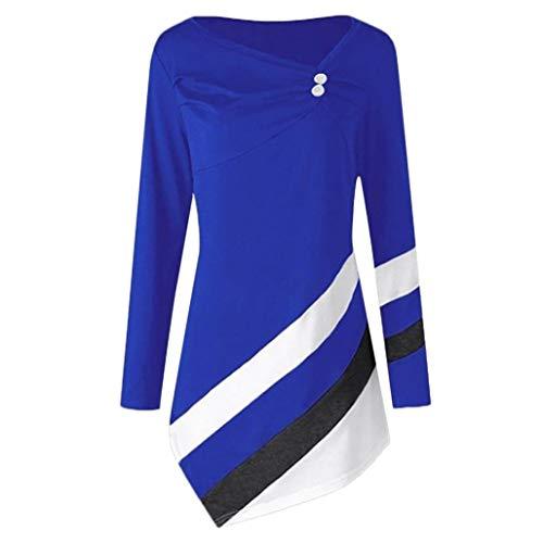 Clearance Women Tops❤️COPPEN Women Autumn Striped Asymmtrical Tunic Plus Size Blouse T-Shirts