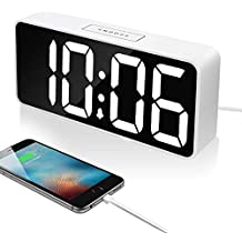 """9"""" Large LED Digital Alarm Clock with USB Port for Phone Charger, 0-100% Dimmer, Touch-Activated Dimmer, Outlet Powered (White)"""