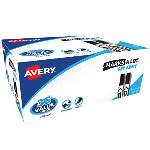 - Avery Marks-A-Lot Dry Erase Markers, Value Pack of 36 Black Markers (98207)