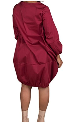 Dress Hip Hop (Comfy Womens Oversize Cozy Pockets Long-Sleeve Baggy Hip Hop Dresses Wine Red Large)