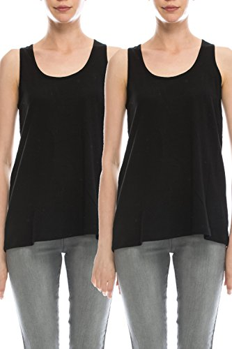 EttelLut Loose Fit Relaxed Flowy Knit Tank Top: workout jersey sexy cheap pack Black/Black (Loose Pack)