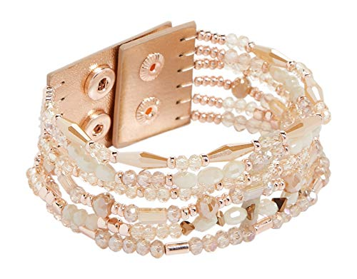 maurices Women's Natural Multi Row Beaded Snap Bracelet Misc Natural Combo