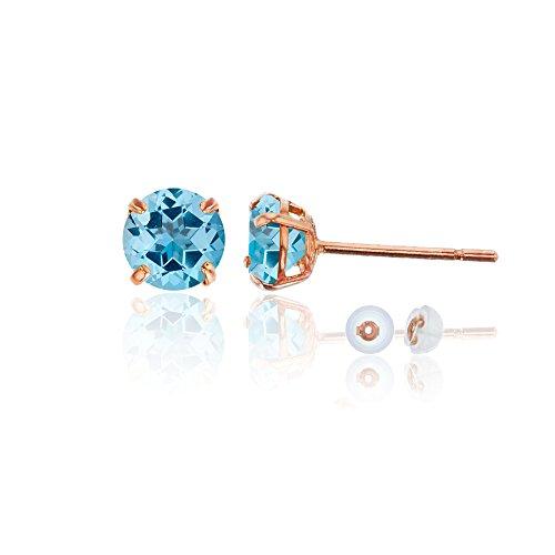 Blue Topaz Rose Earrings - 14K Rose Gold 6mm Round Sky Blue Topaz Stud Earring