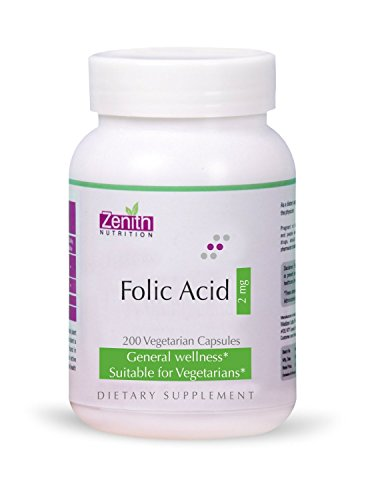 Zenith Nutrition Folic Acid 2 mg - 200 Capsules by Zenith Nutrition