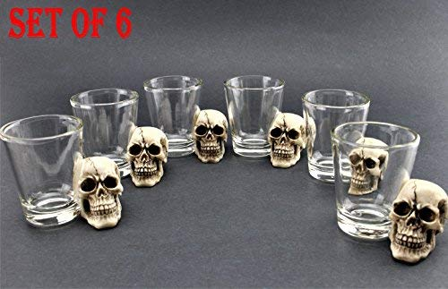 ([ Set of 6] Unique Skull Shot Glass Skull Head Cup Spooky Pirate Shot for Wine Vodka Whiskey Cocktail, Party Bar Cup Ideal for Wine, Vodka, Whiskey, Cocktail (G16638) ~)