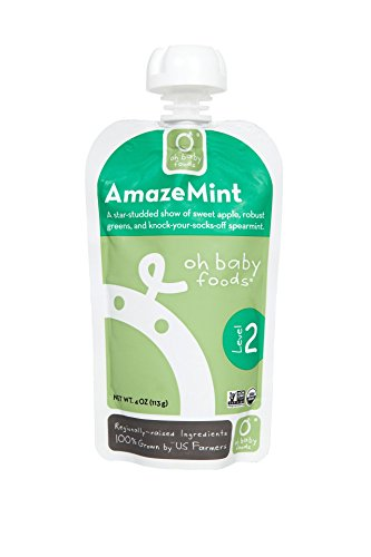 Oh Baby Foods-100% Organic-24 pack-Amazemint-Level 2 Baby Food-4Oz Pouch