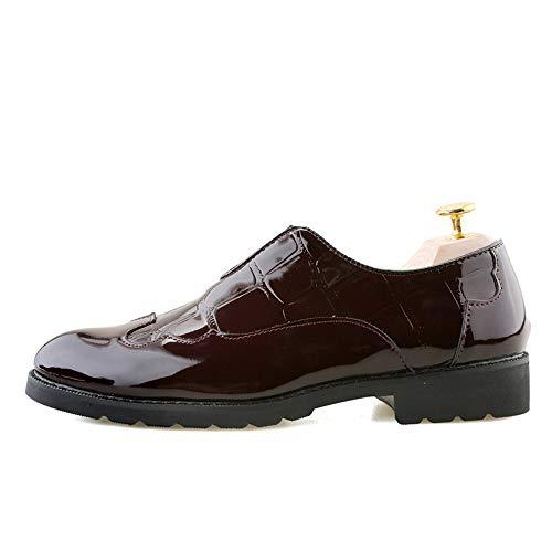 in Color verniciata vernice rilievo casual Dimensione a Nero Pelle Scarpe da Scarpe pelle EU uomo in 41 Marrone con shoes Xiaojuan punta Uomo zxT0wSqgz