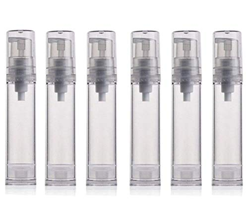 12PCS 10ML / 0.34oz Transparent Small Ounce Empty PS Plastic Airless Vacuum Pump Press Bottle Jar Pot Vial Container For Cosmetic Makeup Serums Cream Lotion Travel Toiletries Liquid Toner Sample