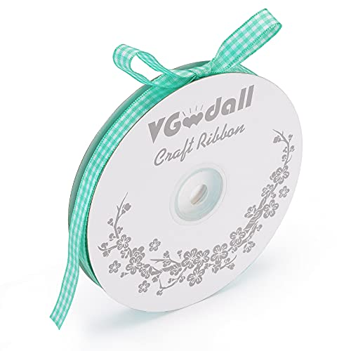 VGoodall Mint-Green Gingham Ribbon, 3/8 x 50Yd Picnic Craft Ribbon Mint-Green Ribbons for Hair Accessories Craft and Christmas Gift Wrapping