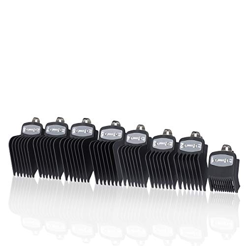 """Premium Black Cutting Guides Combs #3171-500 – 1/8"""" to 1"""" – Fits All Full Size Wahl Clippers/Trimmer Great for Barbers and Stylists - Ensures Smoother, Safer Cutting Experience … ()"""