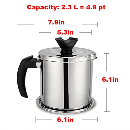 Oil Storage Grease Keeper, Grease Strainer Pot Grease Container with Mesh Strainer (2.3 L) by LI-GELISI (Image #3)