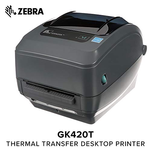 - Zebra - GX420t Thermal Transfer Desktop Printer for Labels, Receipts, Barcodes, Tags, and Wrist Bands - Print Width of 4 in - USB, Serial, and Ethernet Port Connectivity (Includes Peeler)