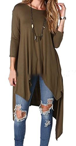 Sleeve Loose Cruiize Pleated Women's Long Scoop Irregular Army Green Neck Dress Efww4RSq