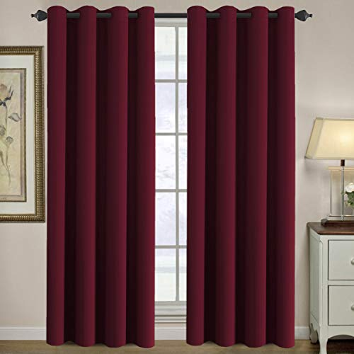 H.VERSAILTEX Ultra Sleep Well Microfiber Blackout Thermal Insulated Grommet 2 Panels,Energy Efficient Window Curtains/Drapes (Set of 2, Burgundy, 52 x 96 Inch) ()