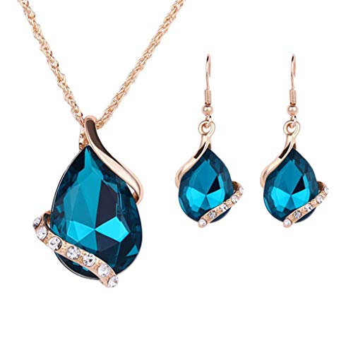 XBKPLO Women Necklace Earrings Party Jewelry Set Chain Lady Pendant Basket Gems Choker Elegant Wild Gold Accessories Statement Gift Jewelry