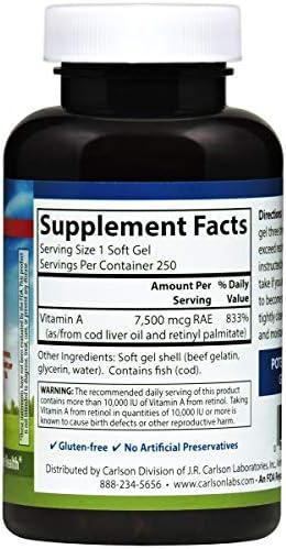 La vitamina A, 25.000 UI, 250 geles suaves - Laboratorios de Carlson