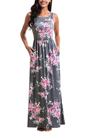 Zattcas Maxi Dresses for Women,Womens Crew Neck Sleeveless Summer Floral Maxi Dress with Pockets,Multi Gray,XX-Large