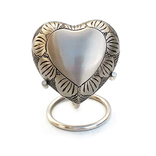 Home Decors Pewter Leaf Band Small Heart Keepsake Urn with Stand & Velvet Box, Mini Memorial Urn