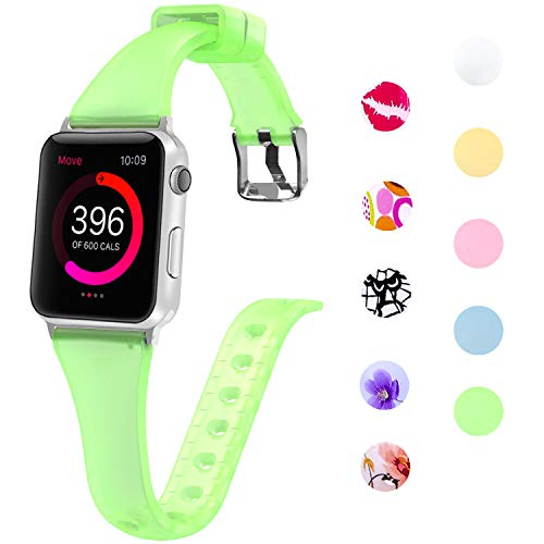 Lwsengme Slim Rubber Band Compatible with Apple Watch 38mm 40mm 42mm 44mm, Women Silicone Thin Strap for iWatch Series4/3/2/1,Sport/Edition