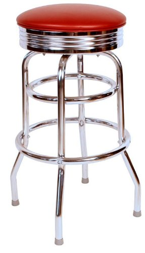 Richardson Seating 0-1971WIN Retro Chrome Swivel bar Stool with Seat Metal, 30