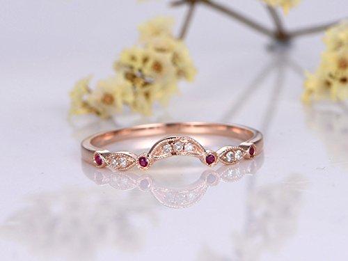 Half Eternity Diamond Band, Milgrain Ruby Engagement Ring,Marquise Style Solid 14k Rose Gold, Bridal Wedding Band, Promise Ring Stack Matching (Style Diamond Eternity Band)