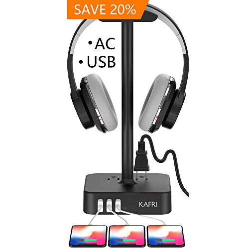 KAFRI Headphone Stand with USB Charger and 2 AC Outlet (Black)